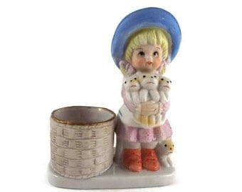 Vintage 1960's 70's Porcelain   Little Luvkins Girl and Kittens  Figurine   2015760 -99