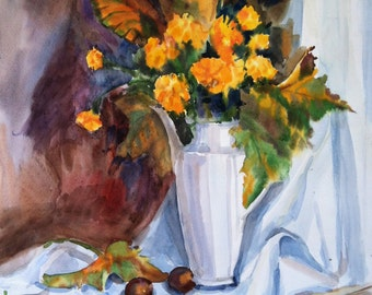 ORIGINAL AUTUMN Still life Watercolor with flowers pitcher and chestnuts