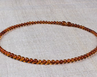 Natural Baltic Amber Round Beads Necklace - Cognac Color