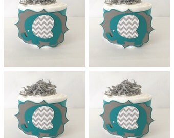 Elephant Mini Diaper Cake in Teal and Gray, Elephant Baby Shower Centerpiece