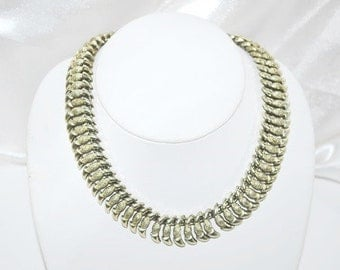 Vintage Signed Coro Necklace Silver Tone Worked Metal Articulated
