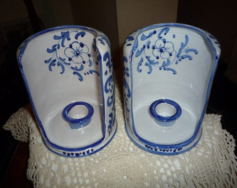 Blue and White Italian Candleholders