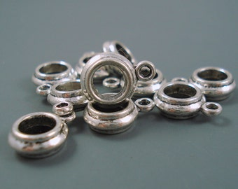 6mm Charm Holder Bead for Leather or Cord, Narrow Large Hole Bead, TEN Pieces (TB-7)