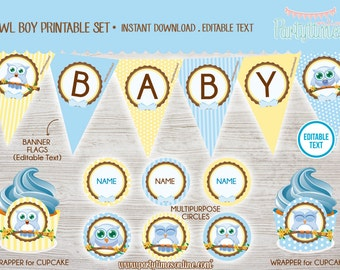 Owl BOY Baby Shower Birthday Party Printable Kit with Editable Text - Instant Download- PDF files