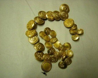 35 vintage waterbury gold buttons-replacements-art-crafts-uniforms-supplies-
