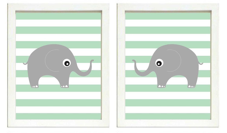 Elephant Nursery Art Nursery Print Set of 2 Elephants Mint Green Stripes Grey Child Art Prints Boy K