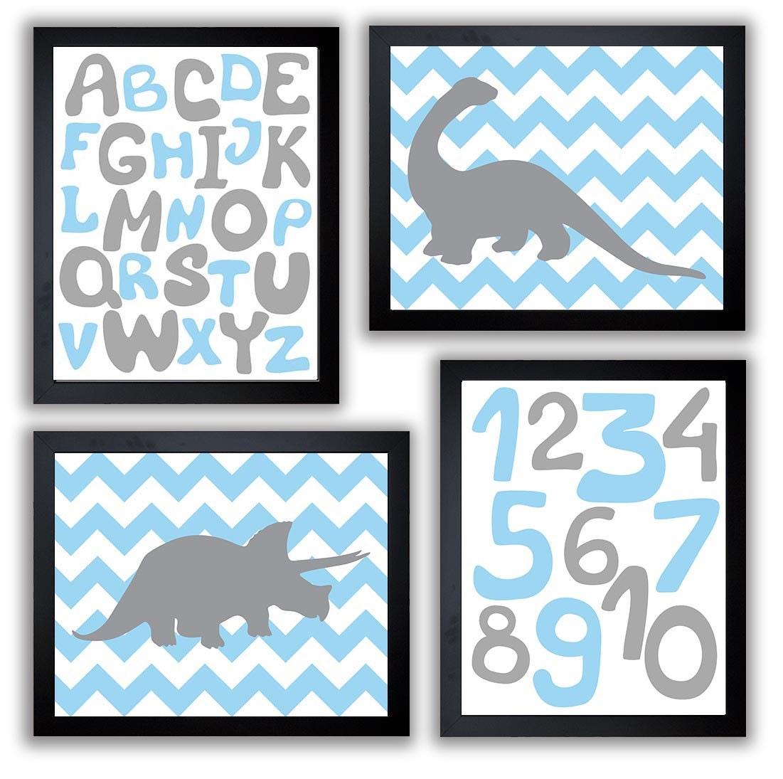 Dinosaurs Nursery Art Set of 4 Prints Grey Blue Chevron Tyrannosaurus Rex Brachiosaurus Alphabet Num