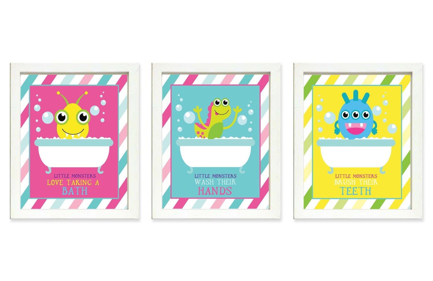Little Monsters Bathroom Print Set of 3 Bath Brush Teeth Wash Hands Art Child Baby Art Print Kids Wa