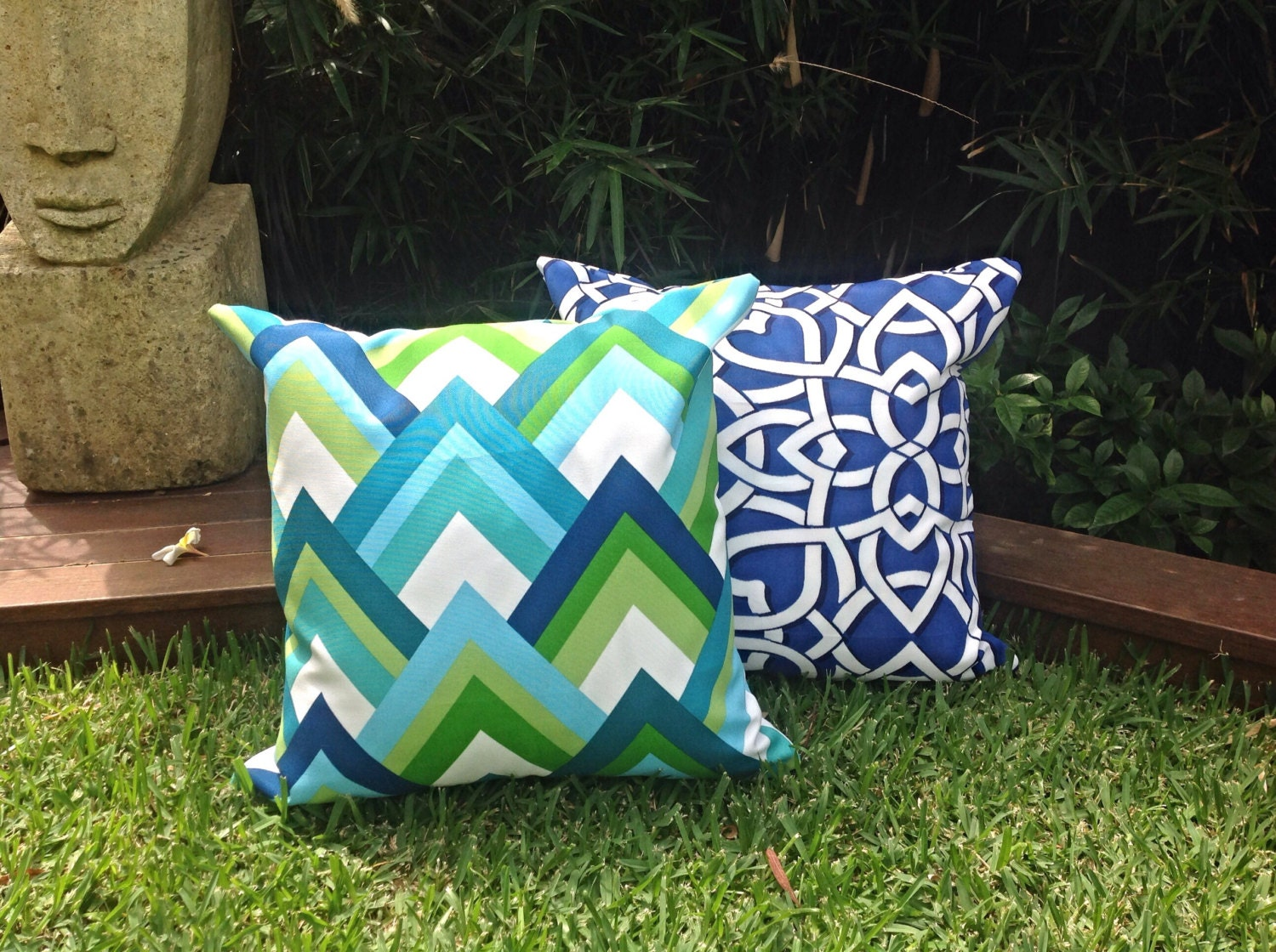 green  blue outdoor cushion covers modern outdoor pillows - 🔎zoom