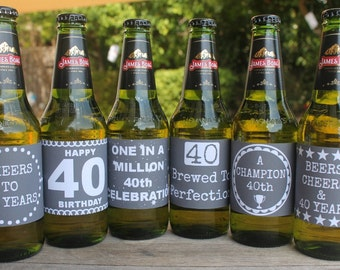 40th Birthday Beer Labels - Chalk Board Style