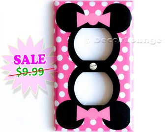 SALE NOW Minnie Mouse pink polka dots electrical power outlets cover plate children girls game play room bedroom art decor decoration