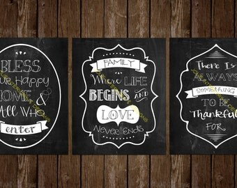 Set of (3) 8x10 Chalkboard Prints