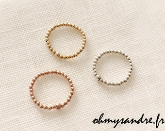 Ring silver beads - gold filled - rose gold