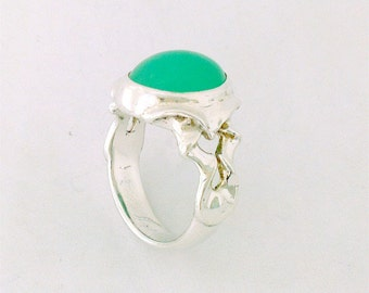 Dress Ring in Sterling Silver, with a sea green Chrystoprase