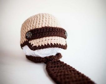 Baby Boy Crochet Newsboy Hat with matching Tie. Photo Prop.
