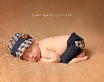 newborn photo prop ,baby, hat, cap, golf cap, photography prop, plaid, golf hat, baby boy, boy hat, fabric, fabric hat, golf, cap