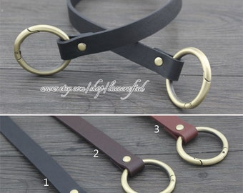 2Pcs  PU leather Shoulder bag straps Purse straps Leather Shoulder Handles ,24inchs x1.8cm Anti Brass round gate ring