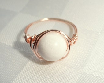 White stone ring, White jade rose gold wire wrapped ring, Rose Gold wire ring, Gifts