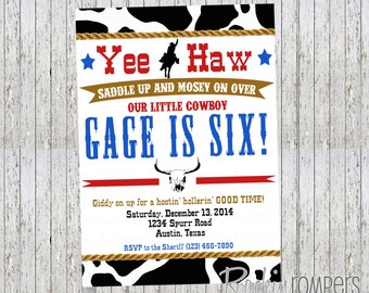 Cowboy Rodeo Birthday Invitation