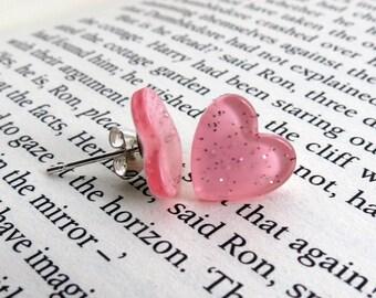 Pink Sparkle Heart Earrings