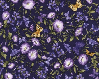 Butterfly Garden, Yellows and Purples, Violet, Timeless Treasures (By 1/2 yd)