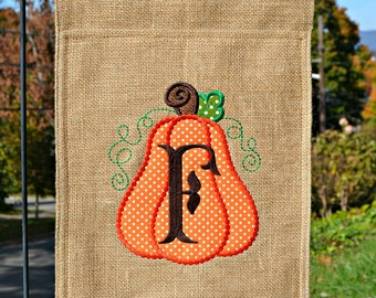 Custom Monogrammed Burlap Garden Flag Personalized with Initial Fall Pumpkin