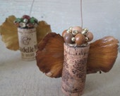 Rustic Wine Cork Angels, Set of 3, Woodland Colors