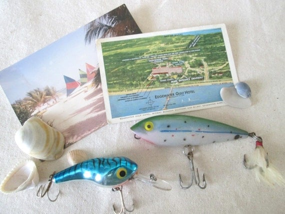 Vintage Fishing Lures, Instant Collection, Assemblage Supplies, Blues