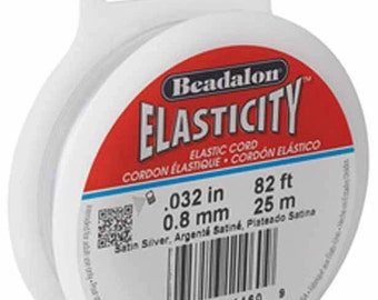 0.8mm Beadalon Elasticity Clear Cord. 82ft Elastic Cord for Stretchy Jewelry. 0.8mm. 82ft or 25M