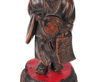 Chinese Scholar 18th C. carved Figural Bamboo Root -Rare