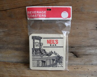Vintage Beverage / Bar Coasters Made in USA Neil's Bar OR Tony's Bar / Pack of 6