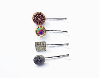 Vintage Button Bobby Pins-Set of 4