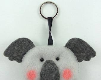 Felt Keychain. Felt Keyring. Felt Koala Keychain. Koala Keyring. Soft Felt Koala. Ornament. Bag Charm.
