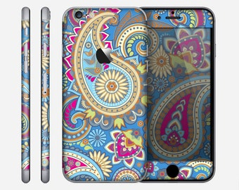 The Blue & Pink Layered Paisley Pattern V3 Skin for the Apple iPhone 6 or 6 Plus