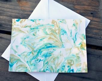 Shaving Cream Marbling Notecards - Set of 4cards/envelopes
