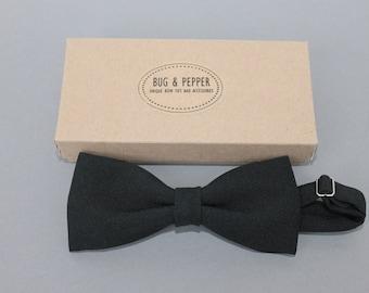 Black Slim Pre-Tied Bow Tie, Formal Bow Tie, Retro Bow Tie, Mens Bow Tie, Classic Wedding Groom, Skinny Bow Tie