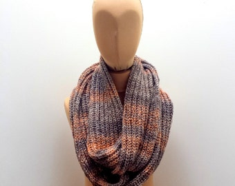 Infinity Scarf for Men and Women, Hand Knit Brown And Orangey Tones Loop Neck Warmer Winter Accessory.