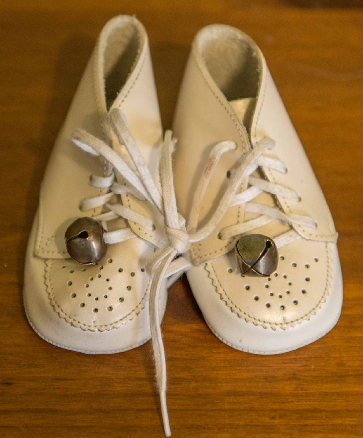 Baby Shoes Bells Them Little White Patent