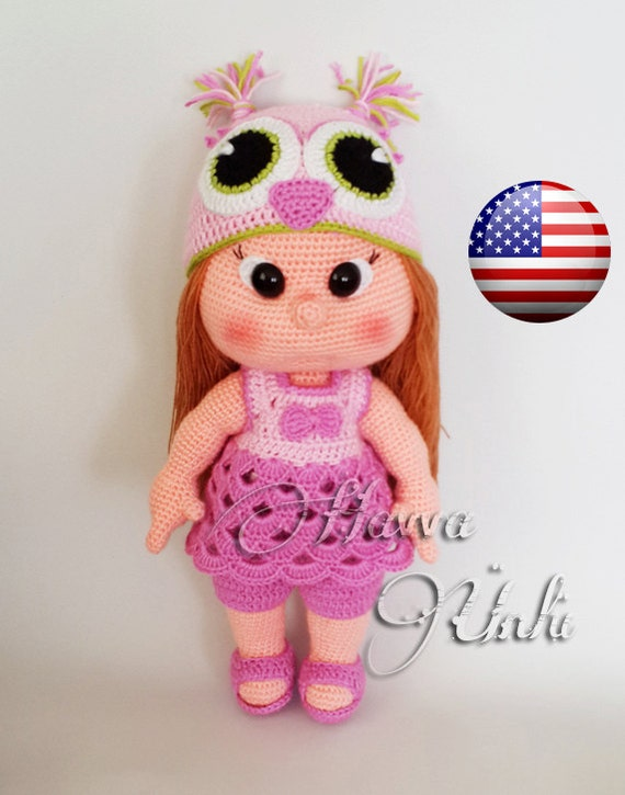 PATTERN Mia Doll With Owl Hat and Clothes by HavvaDesigns