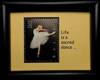 Ballerina Ballet USA -Handmade Framed Postage Stamp Art 0771W