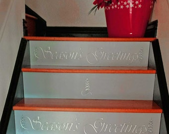 Holiday Easy To Install Stair Riser Insert Seasons Greetings Design W/  Glitter! No Labels