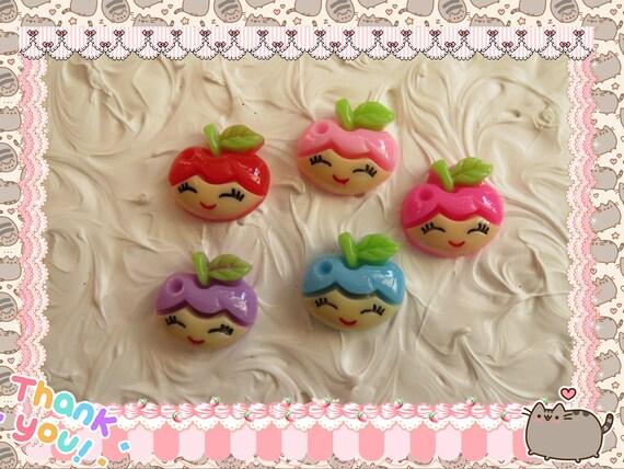 0: )- CABOCHON -( Rainbow Apple Face Girl