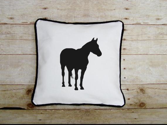 Horse Pillow - Equestrian decor - horse lover gift - decorative equine pillow- home decor - horse pillow case - silhouette - applique