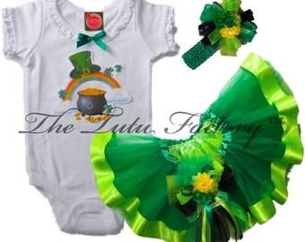 St Patricks Day Tutu Set . Infant . Irish Rainbow