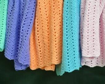 Crochet baby blanket- Lightweight baby blanket- baby boy blanket- baby girl blanket- Lap blanket- Baby Shower Gift