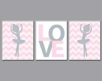 Ballerina Nursery Art Print, Ballet and Heart Suits Baby Girl Pink And Grey Nursery Art, Girls Bedroom Decor - N1055,1056,1057