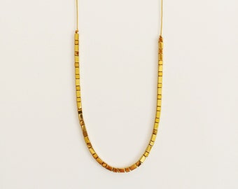 Gold mini cube - long necklace - simple and modern layering necklace