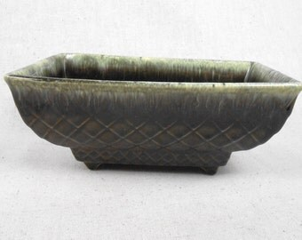 Vintage Dark Green Rectangular Pottery Planter Diamond Design Marked USA