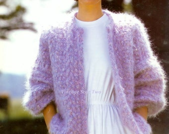 Mohair Edge to Edge Jacket instructions for  Sizes 32 to 42ins - PDF of Vintage Ladies  Knitting Patterns