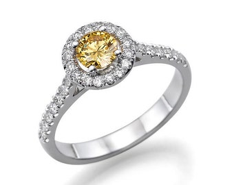 Yellow Diamond Engagement Ring, 14K White Gold Ring, Halo Engagement Ring, 0.72 TCW Yellow Diamond Ring, Halo Ring